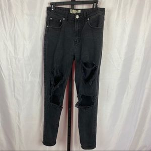 Boohoo Heavily Distressed Black Jeans, size 6